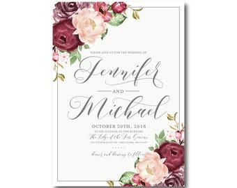Vintage Floral Wedding Invitation, Printable Invitation, Vintage Floral, Floral Wedding, Vintage Wedding, Vintage Floral Invitation #CL338