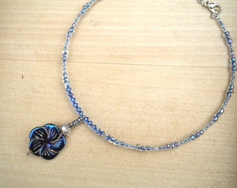 Choker necklace, mother's day, Flower necklace, blue necklace, wedding, ceremony necklace, necklace holidays, evening necklace