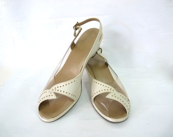 Vintage 50 shoes Penaljo Clear Plastic Marcasite Studs Cream Leather Slingback Peep toe Wedge hill Sandals Size 8.5
