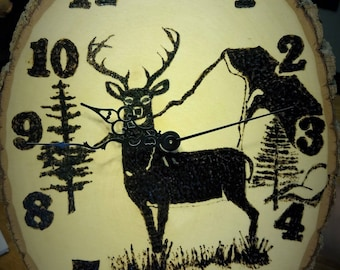 Wood Burned Deer Clock