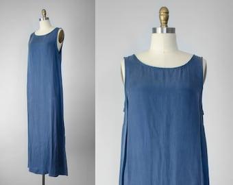 minimal dress | minimal maxi dress | blue maxi dress | blue rayon dress | sleeveless maxi dress | minimal rayon dress | minimal blue dress
