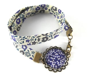 Bracelet double liberty pattern white flowers on blue background