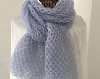 Scarf, shawl, woman, blue crochet mohair and silk