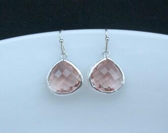 silver champagne drop earrings , peach silver earrings , peach bridesmaids jewelry , peach color earrings , peach earrings , gifts for her