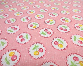 SALE Japanese Fabric LECIEN Cherry Polka Dots Pink Fat Quarter