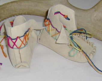 Custom Made! Hightop Leather Baby Moccasins  Hand Crafted First infant Moccasins Leather Hand-cut and Sewn with ColoredTwine