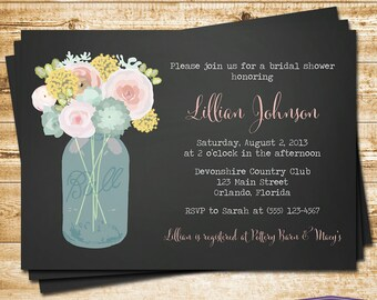 Vintage Mason Jar Bridal Shower Invitation - Pink Flowers Blue Mason Jar Bridal Shower Invite - Chalkboard Wedding Shower - 1290 PRINTABLE