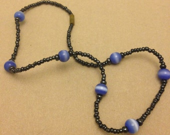 Vintage Seed Bead and Blue Cat's-Eye Necklace