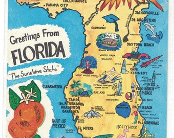 "Florida, Vintage Postcard, ""Greeting from Florida, The Sunshine State.""  1960s, #1333."