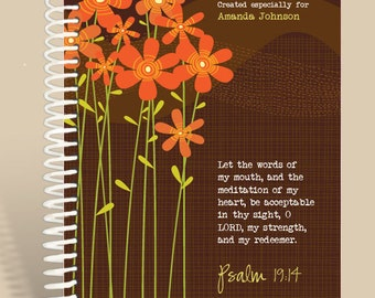 Christian Gift / Personalized Notebook - Sienna Flowers - Psalm 19:14/