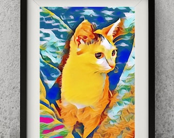 Original Cat Artprint Colorful Vintage Kitty Print,Joanna Design,8x10,Illustration Art Acrylic Painting Kids Decor Drawing Gift,Cat Lover