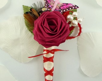 Origami Rose Boutonniere - Red Butterfly Boutonniere, Groom Boutonniere, Butterfly Buttonhole, Rainbow boutonniere, Feather boutonniere