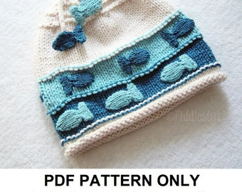 Hat Knitting Pattern - Nautical Fish Hat Pattern - the CHARLIE Hat (Newborn Baby Toddler Child & Adult sizes incl'd)