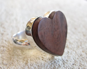 Gorgeous heart shaped  statement ring - Reclaimed wood and recycled sterling silver, hand crafted adjustable ring