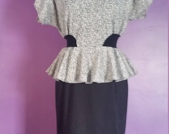 Vintage 80s Peplum Dress