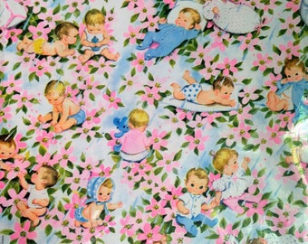 Vintage Gift Wrapping Paper, Gift Wrap for Baby Shower by Gibson