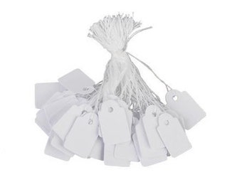 """US Seller Price Tags String Jewelry Paper White Hang 1"""" 1.5"""" Professional Lot 20 25 Small Pre-Strung Wholesale Commercial Clothing Accessory"""