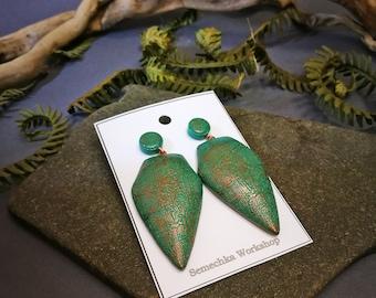 Statement earrings, polymer clay earrings, large earrings, green copper earrings, stud earrings, lightweight earrings, Volumetric earrings
