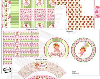 Strawberry Shortcake Baby Shower, Baby Shower Decorations, Baby Girl, Baby Shower Printables