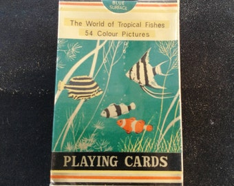 Vintage Chinese Playing Cards-The World Of Tropical Fishes Playing Cards-54 Colour Pictures-Denblend. Vintage Tropical Fishes Playing Cards