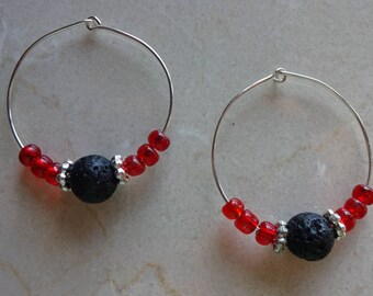 Black lava stone diffuser earrings - Red