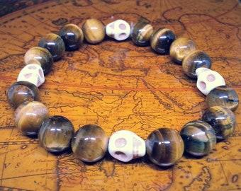 White Magnesite Skull Tiger Eye Beads Men's Stretch Bracelet