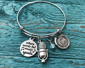 Where words fail, music speaks, Microphone Bangle, Music, Teacher, Music Lover, Singer, Singing, Silver Bracelet, Silver Jewelry, Gifts for