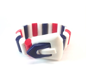 Vintage Patriotic Red White Blue Buckle Bracelet Plastic Lucite July 4 Bracelet USA or France American Flag 1960s Vintage Estate Jewelry