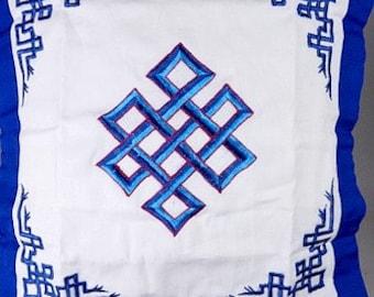 HOUSSE COUSSIN BOUDDHA, noeud sans fin, symbole bouddhiste hc3
