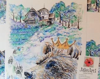 fairy tale art digital print, fantasy home , fantasy art, fairy tale cottage, gift for her, free postage, fantasy illustration, fantasy bear