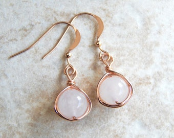 Rose Gold Earrings -  Rose Quartz Dangle Earrings - Rose Gold Drop Earrings - Bridesmaids Earrings - Bridesmaids Gifts - Wife Gift