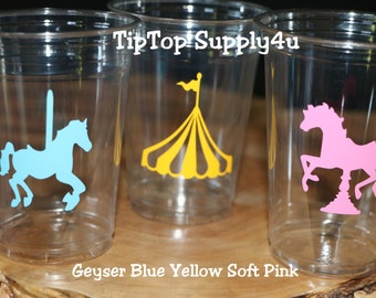24 carousel horse  10 oz. 12 oz. or 16 oz. clear disposable cup. Party Decor, Birthday Party, circus, girl birthday decor,circus tent. C-301