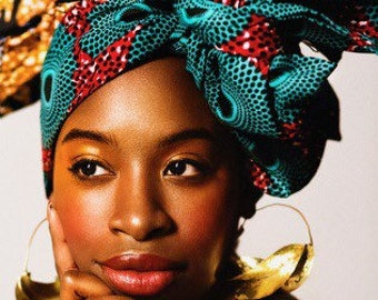 Circle African Print headwrap | Ethnic print Head wrap | Ankara Print headscarf | African wax print material | Print Head Scarf | Print 9