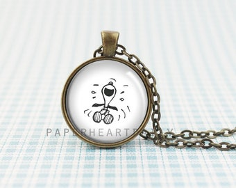 Laughing Snoopy Pendant - Snoopy Necklace - Bronze Snoopy Charm - Funny Snoopy - Peanuts Gang - Charlie Brown - Snoopy Gift -  (B9721)