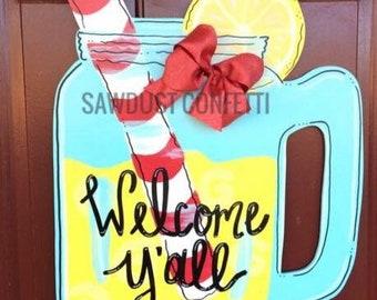 Lemonade Door Hanger, Mason Jar Door Hanger, Lemonade Door Hanger, Lemonade in a Jar Door Hanger, Summer Door Hanger, Lemonade