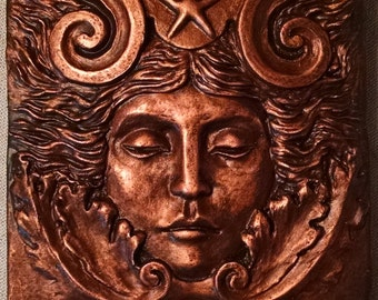 Sea goddess tile, 4x4 inch square Aged Copper finish, women's face with swirls and starfish. grand old theater decor, Sculpted by Chalifour