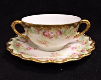 Vintage Blakeman and Henderson Fine Hand painted China Teacup & Saucer, Gold Encrusted, made in Limogas France