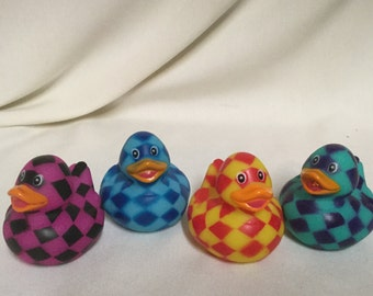 Checkered Rubber Ducks (4) party favors/cupcake toppers, party supplies, patterened ducks, checkered duck, colorful duck
