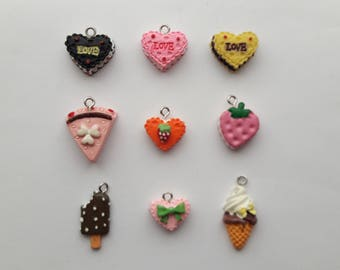 Cake charms - 10 to choose from. Cake, Ice cream, lolly