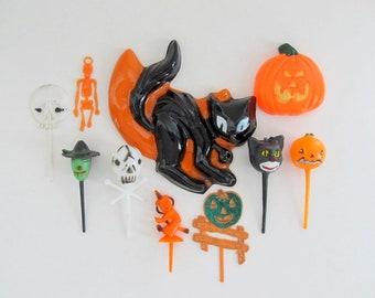 Vintage Halloween Cake Decoration/ Halloween Cake Topper & Picks/ Black Cat, Witch, Pumpkin, Skeleton - Lot of 11 pieces