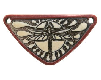 Dragonfly 2 and 1/8 inch ( 54 mm ) Medium Triangle Porcelain Pendant (Old Brick)