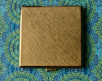Boxed Emrich Germany Gold Tone Powder Compact 1970s