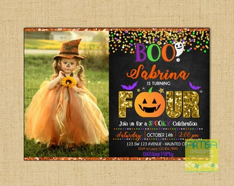 Halloween Birthday Invitation, 4th birthday Halloween Invitation, 4 Birthday Halloween Party Invitation, ANY AGE Halloween Birthday Invite