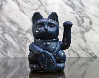 Maneki Neko / Lucky Cat / Waving Cat – Blue/Gold Speckle