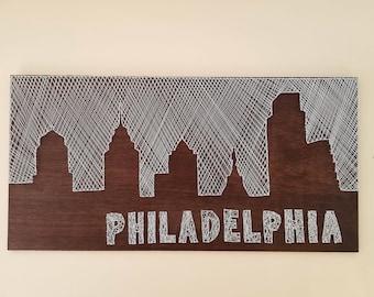 Philadelphia city skyline string art