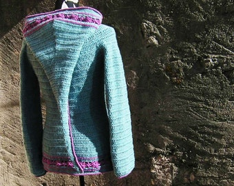 Lutine des Fleurs, womens cardigan with super long elfin hood - Pdf crochet pattern -  size XS to XL