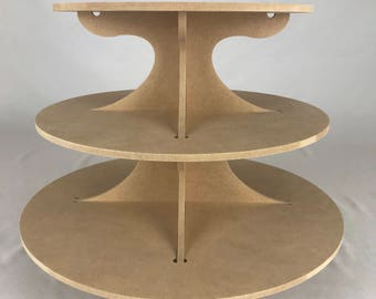 3 tiered cupcake stand, round cupcake stand, wedding stand, cupcake stand wood, wedding cupcake stand, (approx 36 cupcakes) ST034