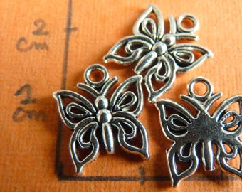 Lot 3 pendants charms day silver-plated Peacock Butterfly