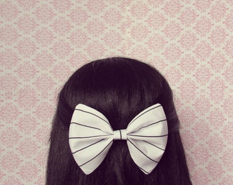 Black and White Striped Hair Bow - French Barrette, Summer Seaside Nautical Hair Bow, Big Hair Bow with Stripes