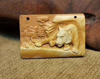 NEW ~ Tiger at Rest Carved in Large Natural Red Malachite Rectangle